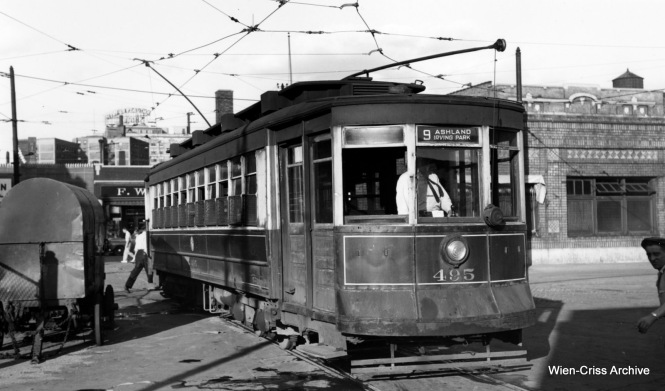 CTA Pullman 495 at Limits Station (car barn), so named because it was once at the north end of the city limits when first built. (Robert Selle Photo, Wien-Criss Archive)