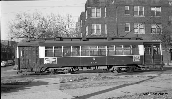 CTA Pullman 540 at Southport and Clark, ready to head south on another trip on Route 9 - Ashland. (Robert Selle Photo, Wien-Criss Archive)