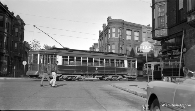 CTA Pullman 610, an Ashland car, heads south on Clark at School Street. There is a similar photo on page 104 in my book Chicago Trolleys, showing car 144 at the same location. That picture is dated May 7, 1953 which may be when this picture was taken. That car was a pull-in to the Limits car barn, which may also be the case here. (Robert Selle Photo, Wien-Criss Archive)