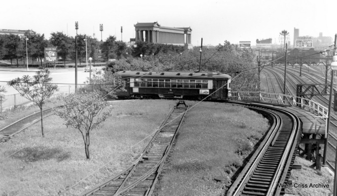 CTA 6136 on the Museum Loop in Grant Park, just east of the Illinois Central Electric. (Robert Selle Photo, Wien-Criss Archive)