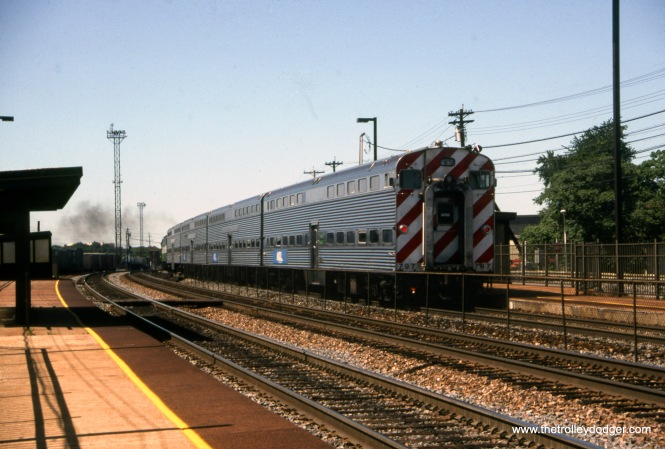 A Metra Burlington Northern commuter train at 29th and Austin on August 30, 1992.