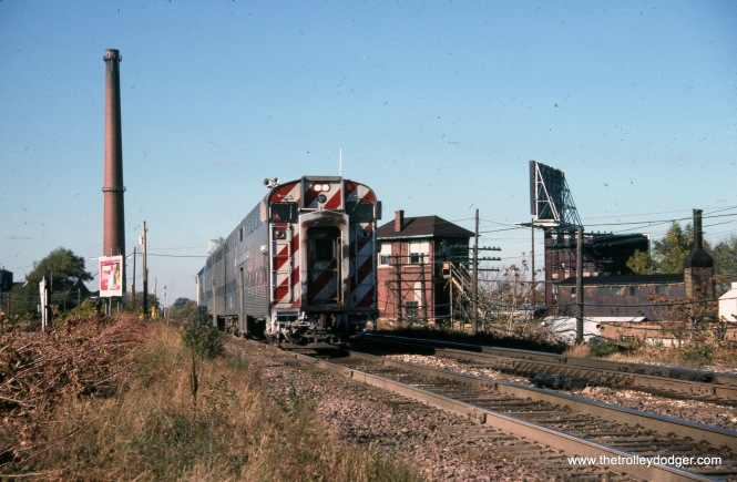 Metra 384 at Mayfiar Junction on October 22, 1988.