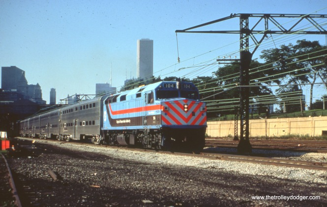 RTA 104, a loaner to the South Shore Line, at Roosevelt Road on July 23, 1982.