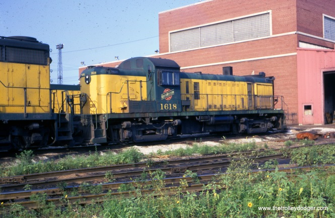 Chicago & North Western diesel 1618 at the Proviso Yard on August 10, 1969. (Joseph Piersen Photo)