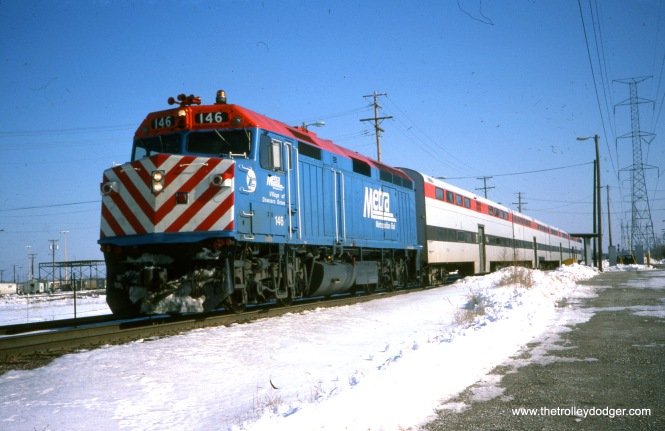 A Metra push-pull train at the Berkeley station near Proviso Yard, February 18, 1990. (Joseph Piersen Photo)