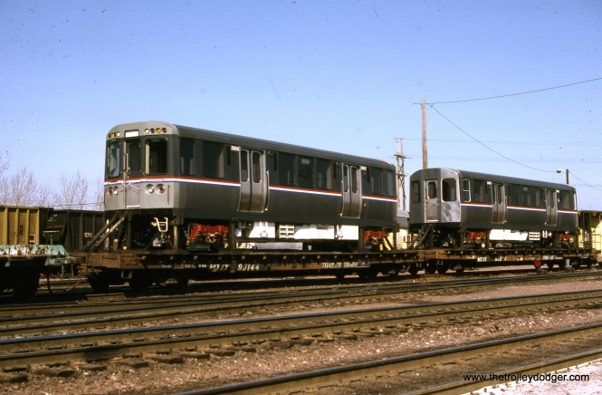 CTA 3185-3186 at Proviso Yard, March 2, 1987. (Joseph Piersen Photo)