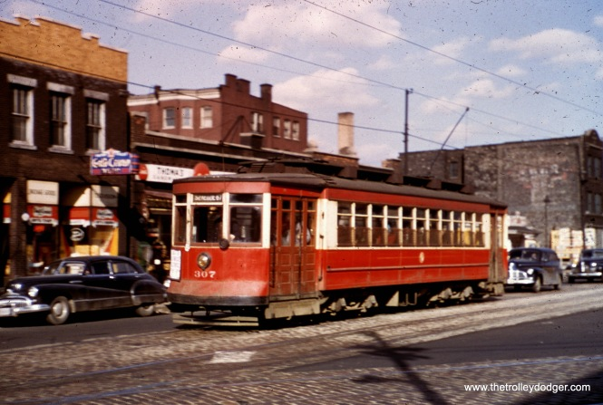 CTA red Pullman 307 at Kedzie and Grand in May 1952.
