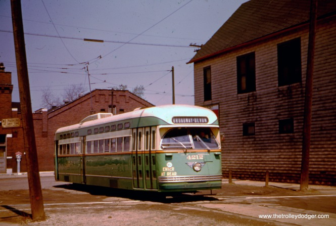 CTA Pullman-built PCC 4212 on Morgan at 119th in 1952, at the south end of Route 36.