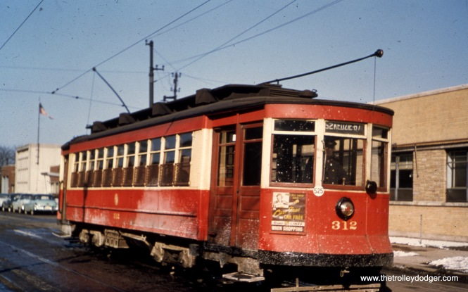 CTA Pullman 312 at California and Roscoe in March 1951.