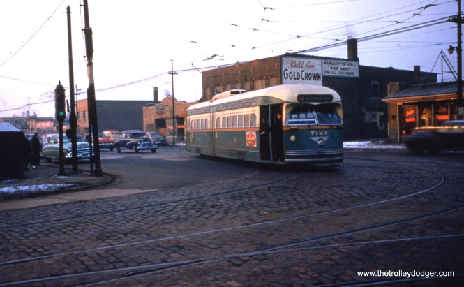 CTA St. Louis-built PCC 7123 at 69th and Western on January 28, 1954, apparently a pull-in from Route 49.