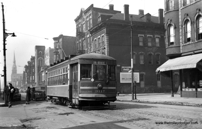 "One-man CSL 3117 is eastbound on 18th Street at Carpenter (approx. 1100 West) in the 1940s. Don's Rail Photos: ""3117 was built by CSL in 1922. It was scrapped in 1948."" This was part of a series known as CSL Safety Cars, aka ""Sewing Machines."" (Joe L. Diaz Photo)"