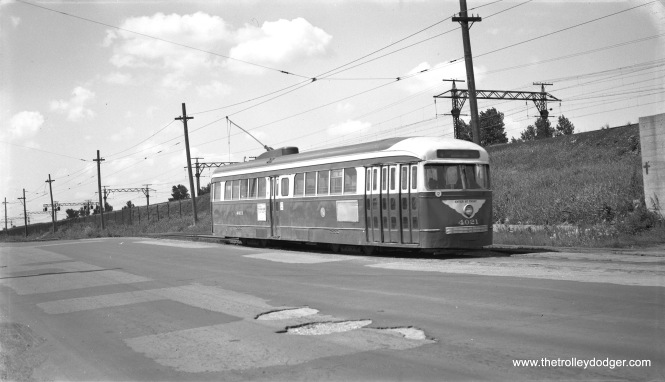 """One-man PCC 4021, now northbound on the (private right-of-way) portion of the South Cottage Grove line."" This was on May 30, 1955. 4021 is now the only preserved prewar PCC, and is now at the Illinois Railway Museum. (Robert Selle Photo)"