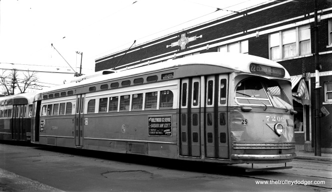 CTA Postwar PCC 7200, a product of the St. Louis Car Company, at 81st and Halsted on January 2, 1954. This was the south end of Route 22, Clark-Wentworth. It's been pointed out to me that fans took a lot of pictures at this location, but here we had the opportunity to purchase the original medium-format neg, and not just a print. Notice the dents on the front of 7200. (Robert Selle Photo)