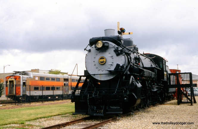"Chicago, Burlington & Qunict locomotive 4978 in Mendota, IL on September 2, 2010 with a Metra Electric (ex-Illinois Central ""Highliner"" at left. Both are at the Union Depot Railroad Museum. (Mike Sosalla Photo)"