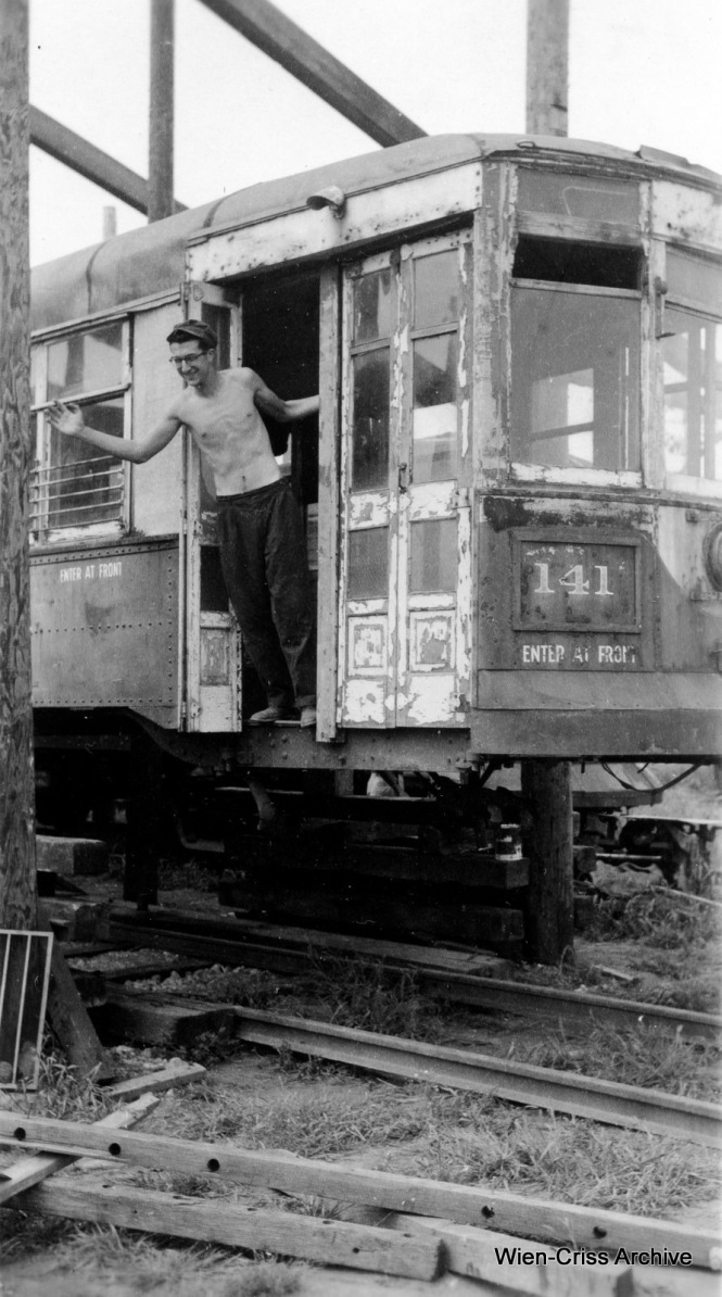 A young (and shiirtless) Nick Kallas at the ERHS (Electric Railway Historical Society) site in Downers Grove, where streetcars such as Chicago & West Towns 141, shown here, were stored between 1959 and 1973, when the collection went to the Illinois Railway Museum. (Robert Selle Photo, Wien-Criss Archive)