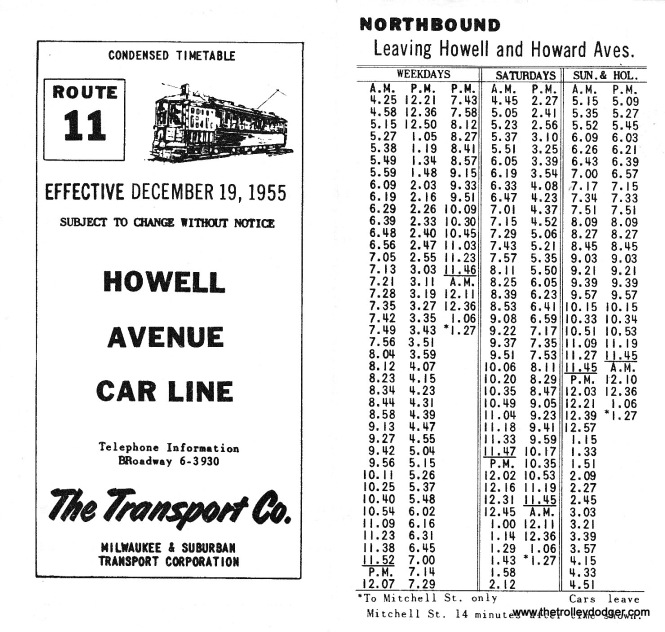 The Route 11 timetable for December 19, 1955.