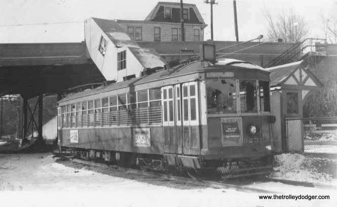 Car 925 at the Hawley Road platform in the winter of 1955-56. Note the many holes from rocks thrown through the car windows. (Ed Wilson photo)