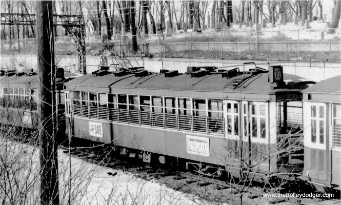 Car 929 and others stored on the County Stadium spur in the winter of 1955-1956. (Don Ross photo)