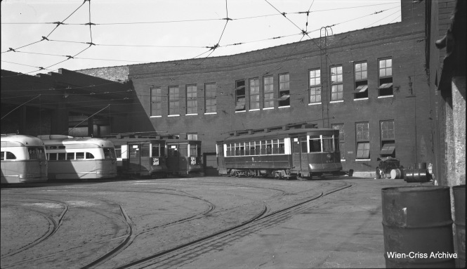 "Bob Selle took a ""fast shot"" of CTA 681 just inside the gates at Limits Station on June 28, 1952. Limits was located at 2650 North Clark Street, which was the city limits in the late 1800s. (Wien-Criss Archive)"
