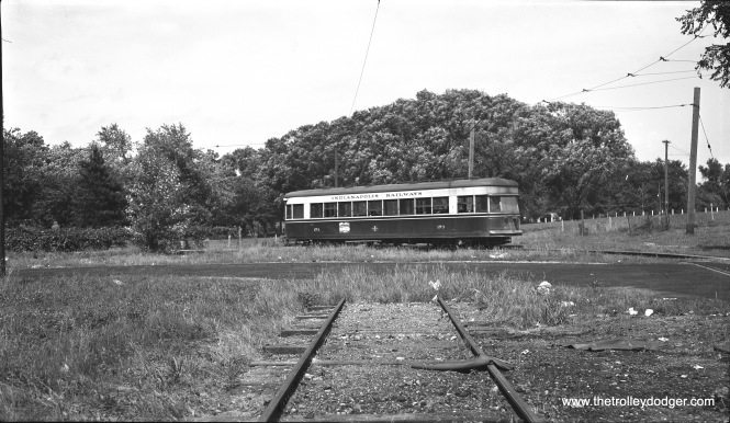 "Indianapolis Railways ""Peter Witt"" car 173 is shown at the Broad Ripple loop on June 6, 1951. Broad Ripple Village is an Indy neighborhood that was once an independent municipality. It was annexed into Indianapolis in 1922. (Robert Selle Photo)"