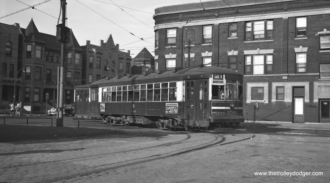 "CTA one-man car 1743 (signed for Route 21 - Cermak, but the photographer has written ""Lake Street"") entering Kedzie Station at 5th Avenue and Jackson Boulevard on July 21, 1952. This picture looks to have been taken at about the same time as another, which shows a PCC car, on page 102 of my book Chicago Trolleys. (Robert Selle Photo)"