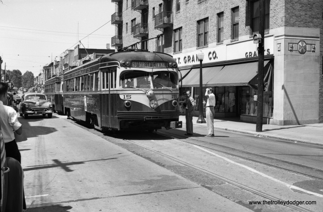 Philadelphia Suburban double-ended car 15, built by St. Louis Car Company in 1949, is seen at Gay and High Streets in West Chester, at the end of the long West Chester trolley line.