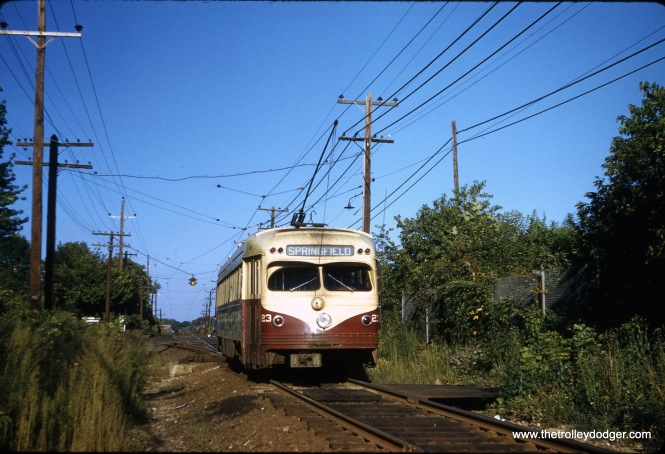 "Philadelphia Suburban (aka red Arrow) car 13, a product of the St. Louis Car Company, on the Media line on September 9, 1958. Garrett Patterson says the location is ""Drexelbrook, inbound."" (Clark Frazier Photo)"