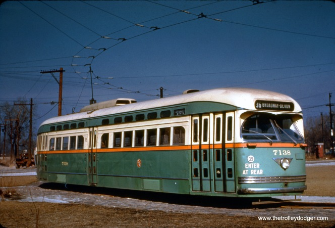 CTA PCC 7138, a product of the St. Louis Car Company, at the State Street loop near 84th on February 11, 1950. This location is now occupied by the Dan Ryan expressway.