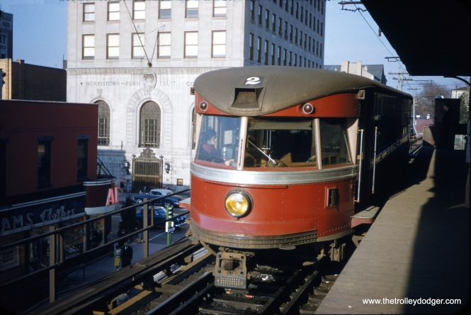 Philadelphia & Western (aka Red Arrow) Bullet car 202 at Norristown in 1949. Behind 202, you can see the ramp leading down to street level, used by Lehigh Valley Transit's Liberty Bell route trains. (S. Bogen Photo)