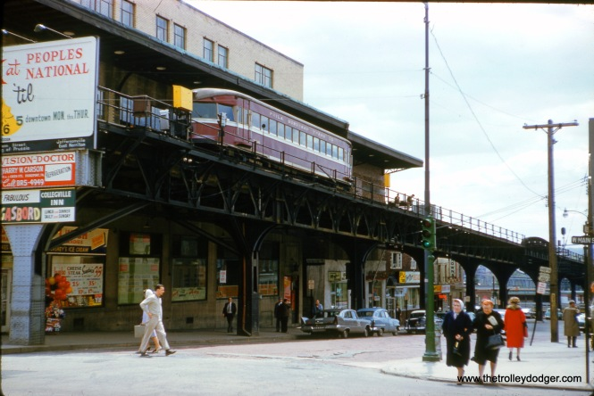 By May 1961, when this photo was taken in Norristown, Liberty Bell Limited trains had been gone for nearly a decade. As you can see at left, the ramp leading down to ground level was removed and blocked off with an advertising sign.