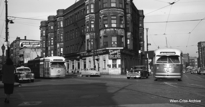 CTA Clark Street PCC 4361 and Broadway PCC 7175 meet at Clark, Broadway, and Diversey on November 8, 1953. (Robert Selle Photo, Wien-Criss Archive)