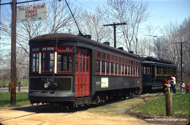 New Orleans #836 and Rio car #1850 at the Connecticut Trolley Museum in May 1967. (Gerald H. Landau Photo)