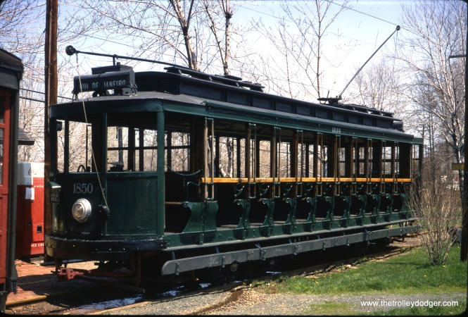 Rio car #1850 at the Connecticut Trolley Museum in May 1967. (Gerald H. Landau Photo)
