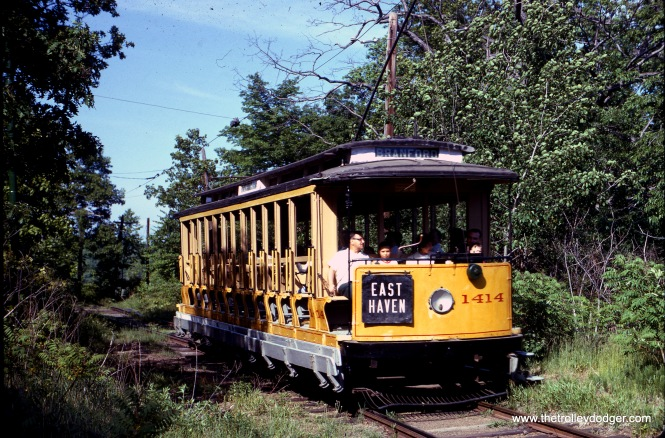 Connecticut Company open car 1414 at Branford on May 30, 1964. (J. W. Vigrass Photo)