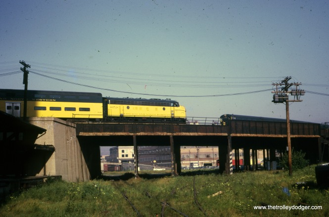 A Chicago & North Western commuter train near Chicago's Loop in August 1970. (William Shapotkin Collection)
