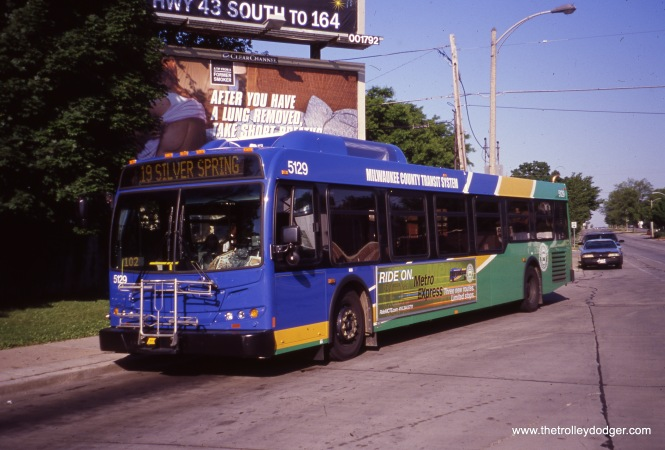 Milwaukee County Transit System 5129 at 35th and Silver Spring on June 9, 2012, running Route 19. (William Shapotkin Collection)