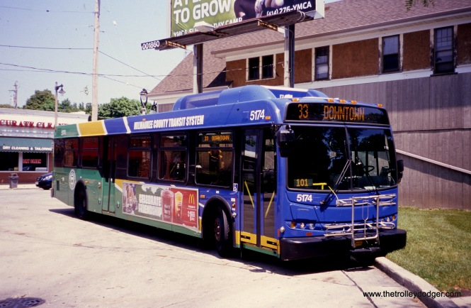 Milwaukee County Transit System 5174 at the 60th and Vliet loop on May 27, 2012, running Route 33. (William Shapotkin Collection)