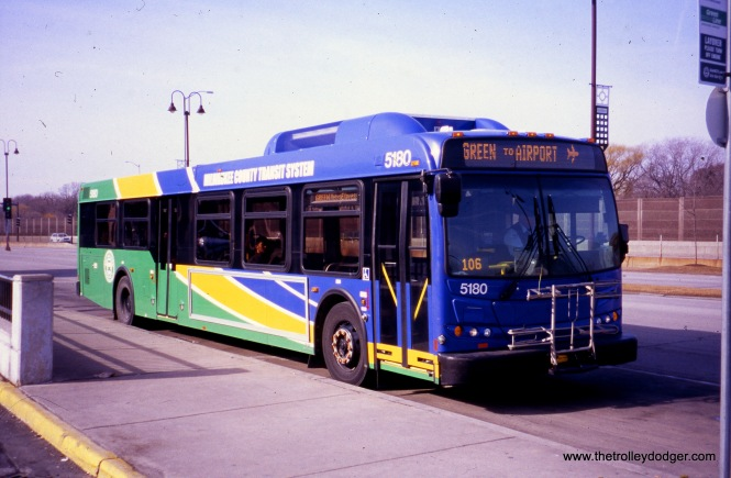 Milwaukee County Transit System 5180 at the Bayshore loop on February 20, 2012, running the Green Line to Mitchell Airport. (William Shapotkin Collection)