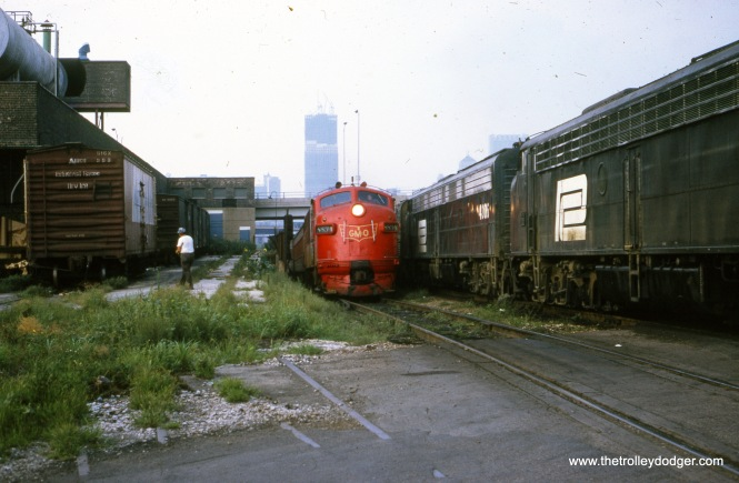 A GM&O diesel in August 1972, near some Penn Central motive power. (William Shapotkin Collection)
