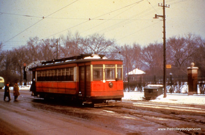 CTA Pullman 677 is at Pulaski and Bryn Mawr in 1949 on Route 53. (William Shapotkin Collection)