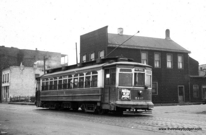 "CSL 5147, signed for Pitney and Archer. Michael D. Franklin adds, ""This picture shows 6181 heading south on Larrabee St between Crosby St and Kingsbury Street. Building with 'Adams Mfg. Co.' is still standing at 907 N. Larrabee Ave."" (William Shapotkin Collection)"