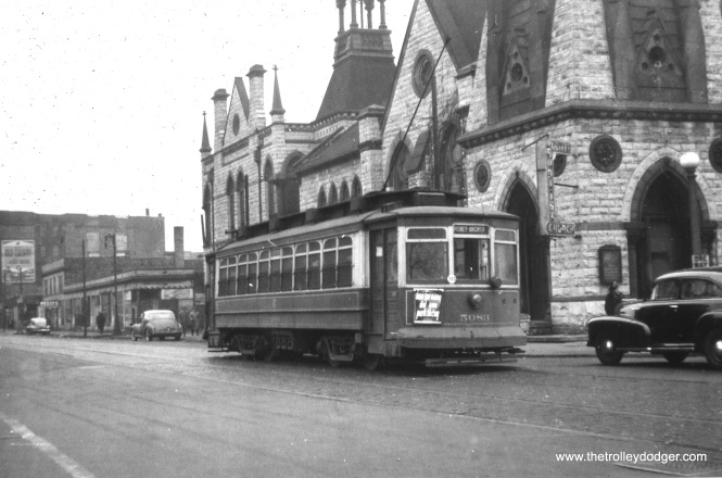"CSL 5083 is signed for Pitney and Archer. Bill Shapotkin say this location ""is E/B in 31st, the car has just x/o South Park (now King Dr). The church on the S/E corner is still-standing and either is or has just undergone renovation."" (William Shapotkin Collection)"