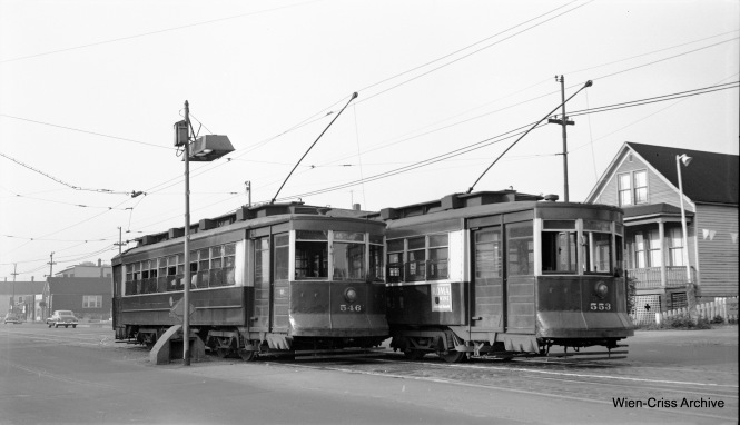 CTA Pullmans 546 and 553 cross near a safety island at 71st and Ashland on June 29, 1953. (Robert Selle Photo, Wien-Criss Archive)