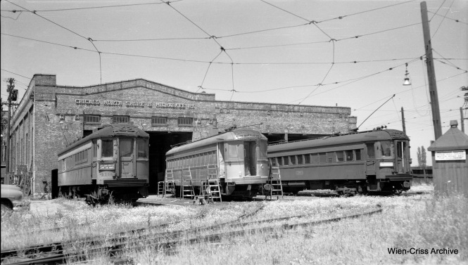 On July 13, 1955, a 700-series North Shore Line car is being converted into a Silverliner, while flanked by cars 419 and 746 at the Highwood Shops. (Robert Selle Photo, Wien-Criss Archive)