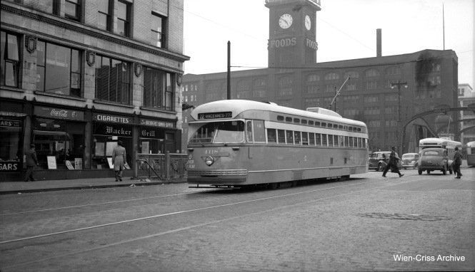 Chicago Surface Lines 4118, built by Pullman, heads southbound on Clark at Wacker on June 13, 1947. We ran a version of this picture before, in our post More Chicago PCC Photos - Part Six (November 30, 2015), but this one is better, as it is a scan from the original medium format negative. (Wien-Criss Archive)
