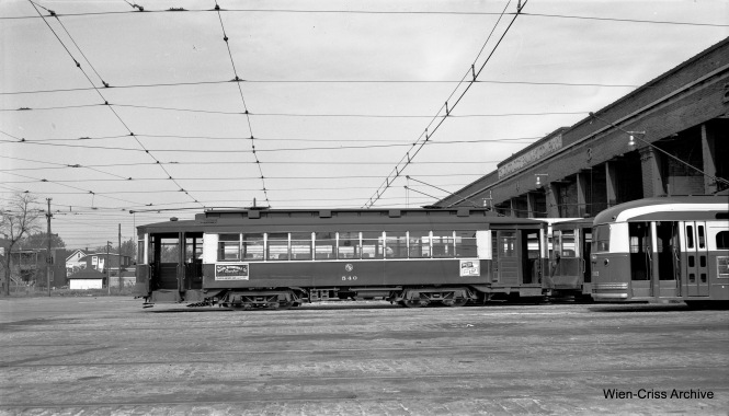 CTA Pullman 540 at 70th and Ashland (69th Street Station) on May 23, 1953. The sign above the streetcar bays is now at the Illinois Railway Museum. (Robert Selle Photo, Wien-Criss Archive)