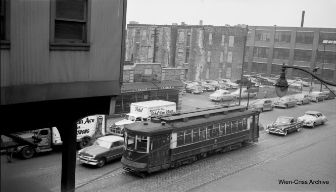 "CTA Pullman 529, as seen from the Ashland station on the Lake Street ""L"", on May 7, 1953. (Robert Selle Photo, Wien-Criss Archive)"