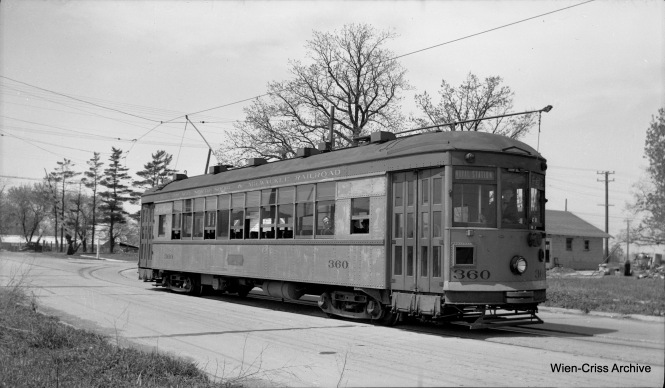 Chicago North Shore & Milwaukee city car 360 on Glen Flora Avenue in Waukegan, Illinois. This picture could not have been taken after 1947. (Robert Selle Photo, Wien-Criss Archive)