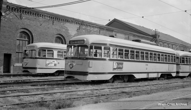 Kansas City Public Service PCCs 712 and 796 at the 48th and Harrison yard on October 16, 1956. PCCs last ran in Kansas City in 1957, but streetcars returned to Kansas City in 2016. (Robert Selle Photo, Wien-Criss Archive)