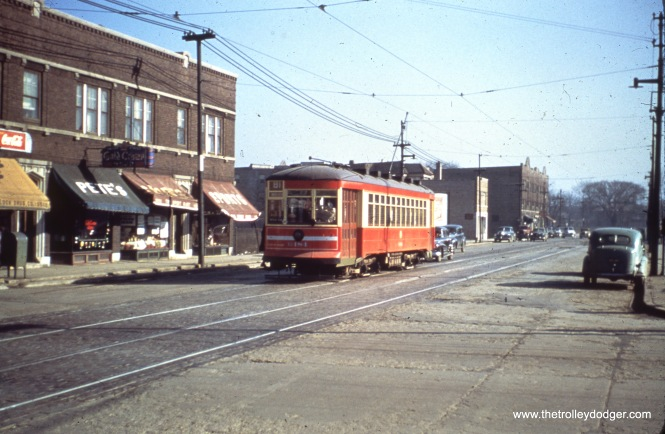 CTA one-man car 6184 at Lawrence and Luna in 1949.